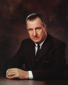 Vice President Spiro Agnew Agnew seated in a suit.