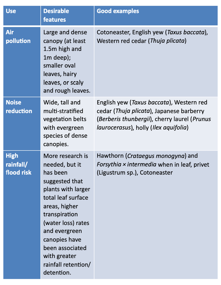 Table showing best hedge varieties to plant in an urban garden for specific uses such as noise and air pollution and flood risk.