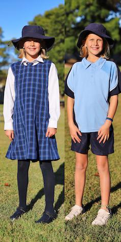 Girl wearing traditional uniform, and same girl wearing sports uniform.