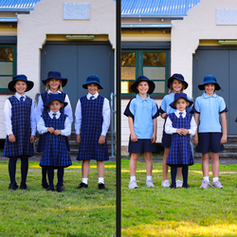 Students in traditional uniform and sports uniform.