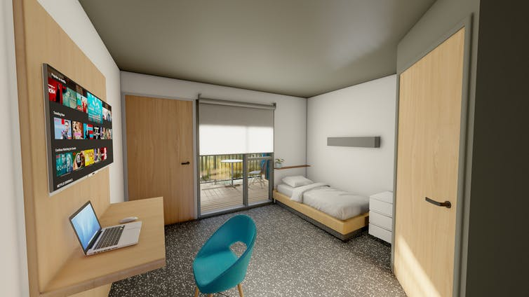 A graphic render of a room in proposed alternate quarantine accommodation