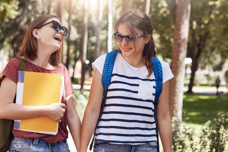 2 female students on campus