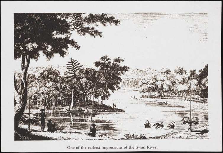 black and white print of early Australian river scene