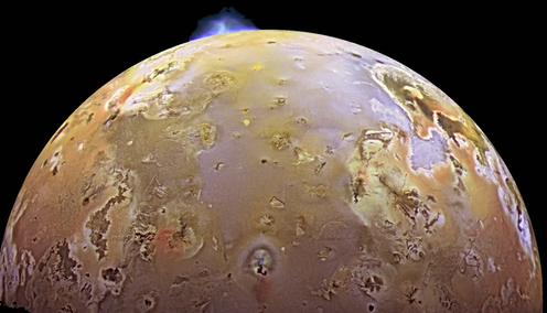 Io, Jupiter's third-largest moon, undergoing a volcanic eruption.