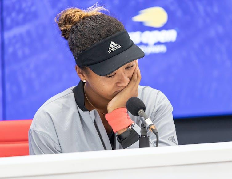 Naomi Osaka at a press conference.