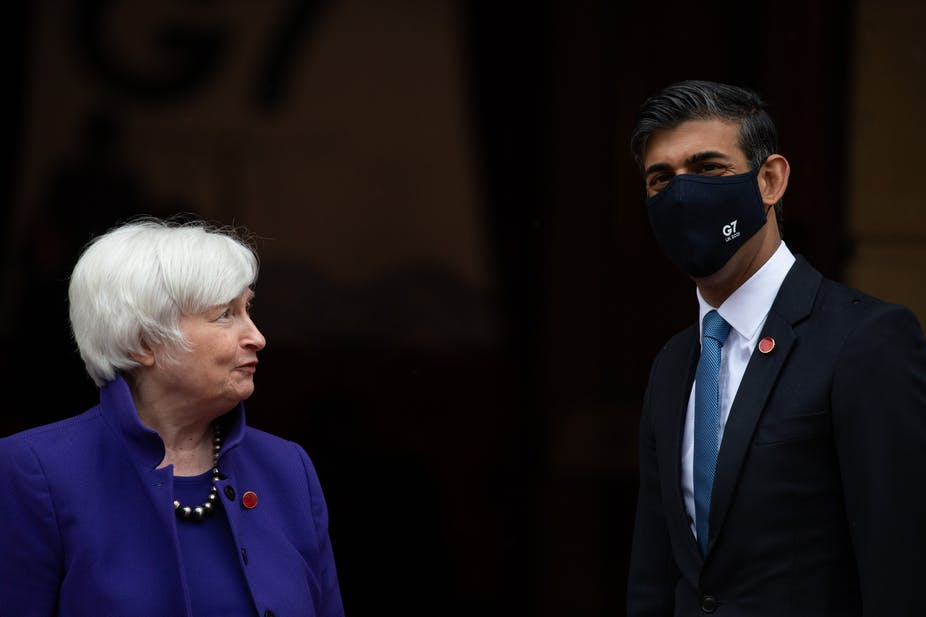 US and UK finance ministers Janet Yellen and Rishi Sunak at G7 meeting in London.