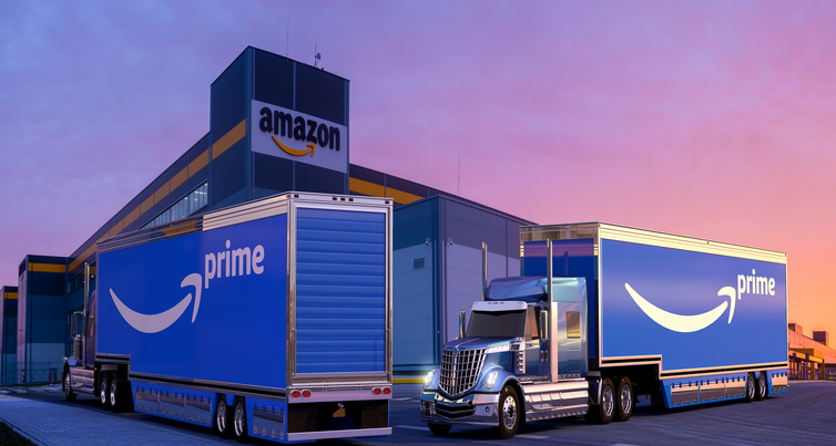 Shot of Amazon lorries outside an Amazon warehouse
