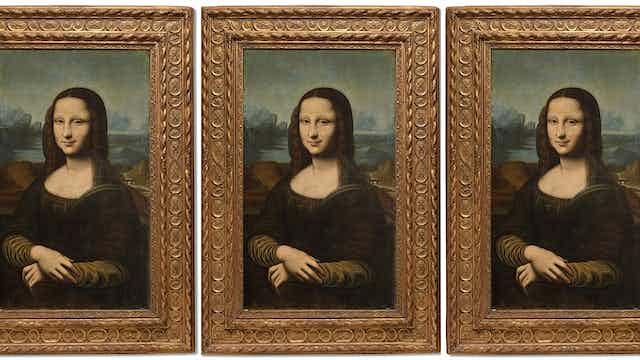 The Hekking Mona Lisa repeated three times.