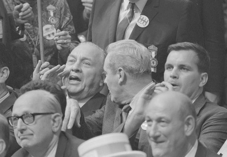 Chicago Mayor Richard Daley – shown yelling – cried bias in the media's coverage of the 1968 Democratic National Convention. Library of Congress