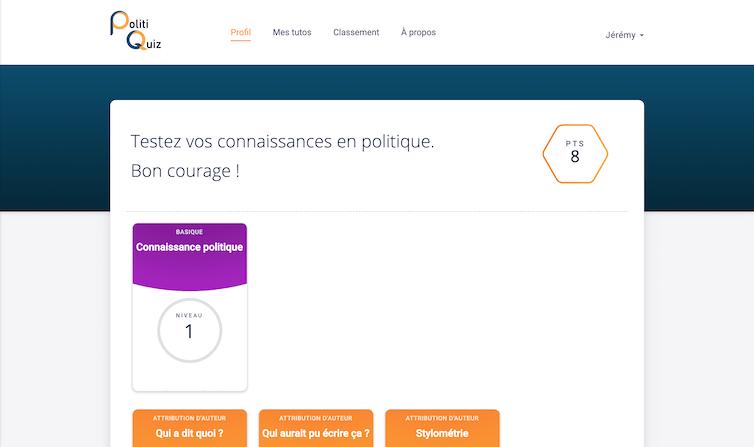Page d'accueil de la plate-forme PolitiQuiz