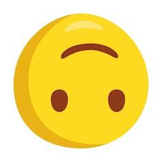 A happy face emoji shown upside down.