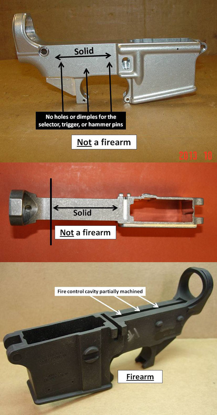 Three images showing the distinctions between regulated firearms and pieces of metal and plastic that are very close to being regulated firearms, but are not.