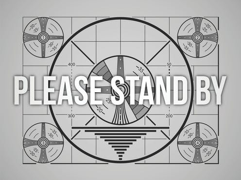 Television test pattern with the words please stand by