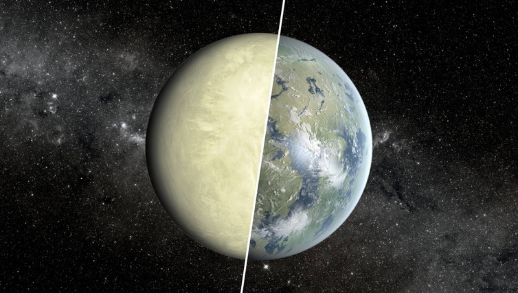 Venus divided in half with green–yellow clouds on the left and an artists impression of what it might have looked like with oceans, clouds and life on the right.