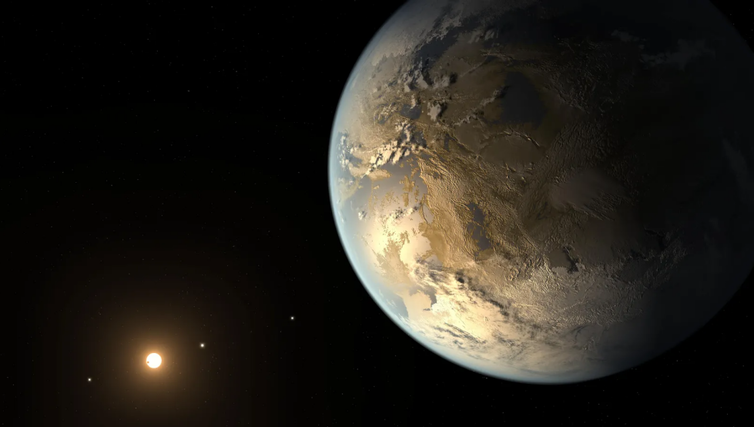 An artists impression of an exoplanet around a different star.