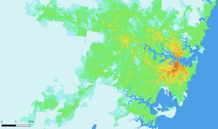 heat map showing number of jobs accessible within 30 minutes across Greater Sydney