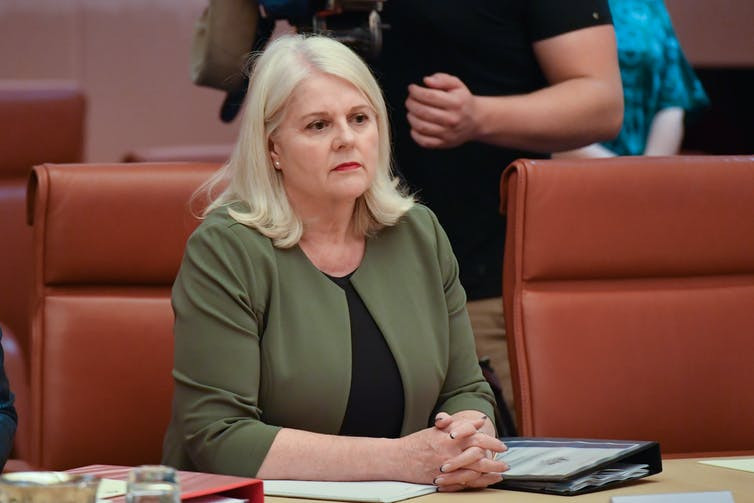 Minister for Home Affairs Karen Andrews in the cabinet room.