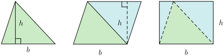 Triangles marked up with algebraic terms.