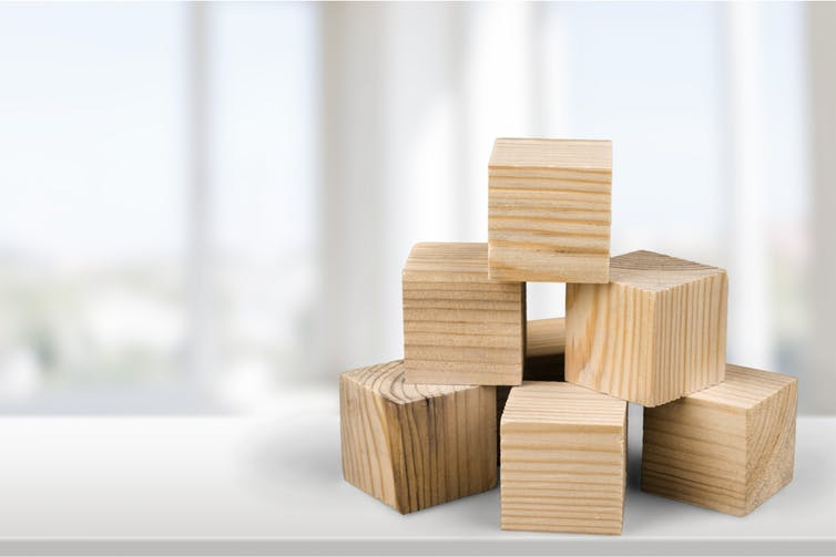 Wooden blocks.