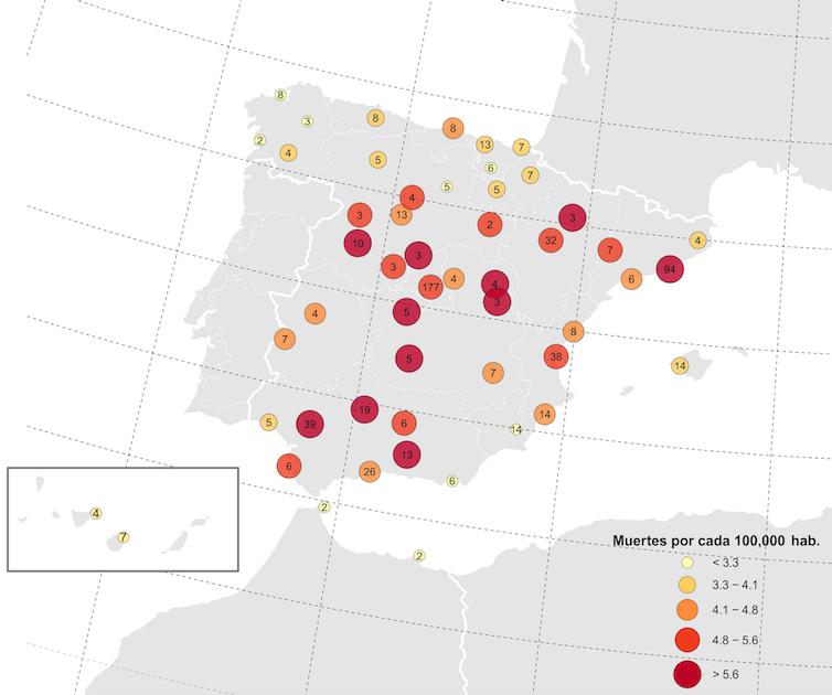 Mapa de España con las ciudades y las cifras de fallecimientos