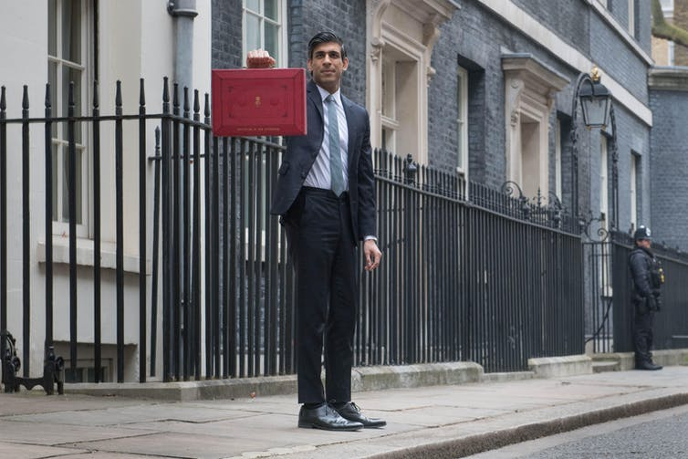 Chancellor Rishi Sunak holds up his red box on budget day.