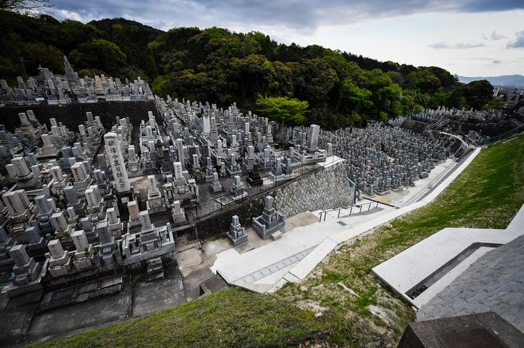 A cemetery at the Kiyomizu-dera Buddhist temple in eastern Kyoto, in Japan.
