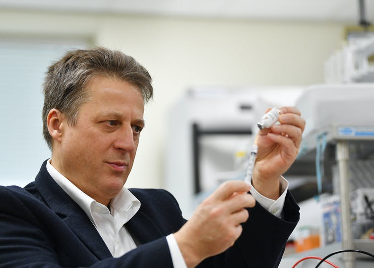 Nikolai Petrovsky with the Vaxine COVID-19 vaccine candidate