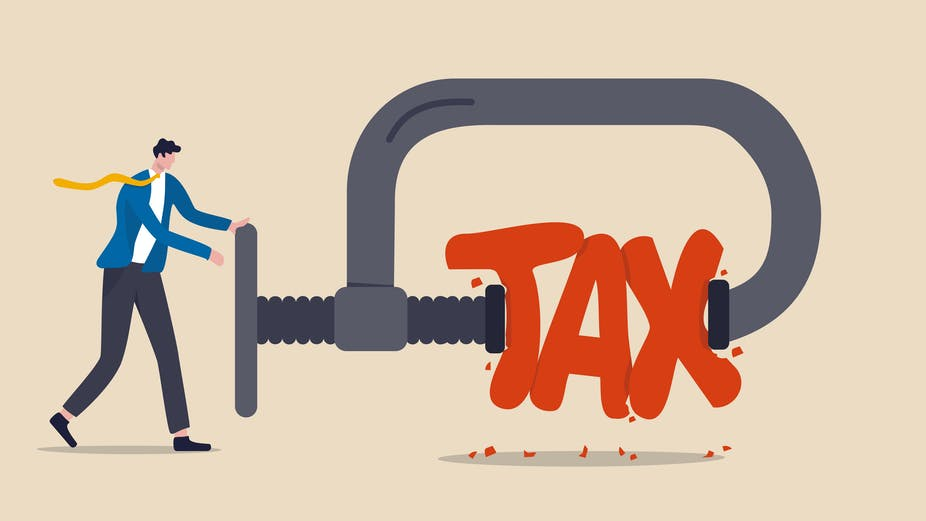 Drawing of a man squeezing the word tax in a vice.