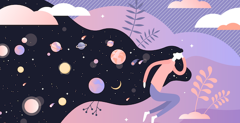 A drawing of a woman lying down with planets and moons coming out of her head.