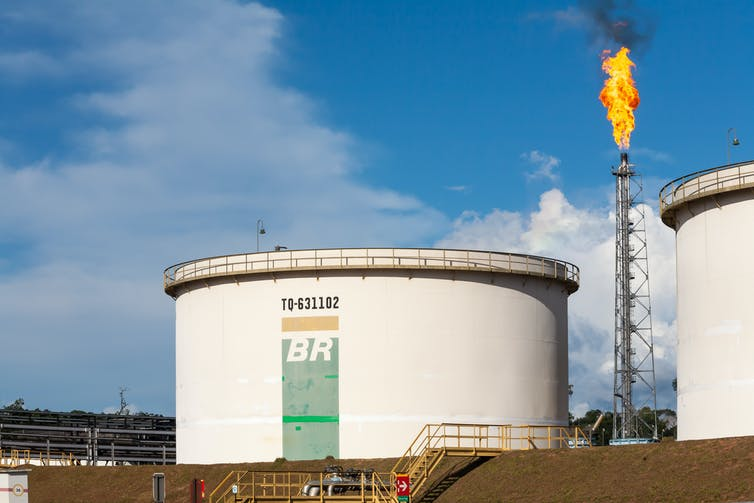Gas tanks and flare tower owned by Petrobas in Brazil.