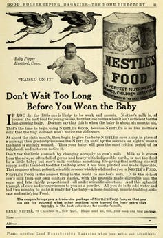 Old advertisement for Nestlé formula with lead text that reads 'Don't Wait Too Long Before You Wean the Baby.'