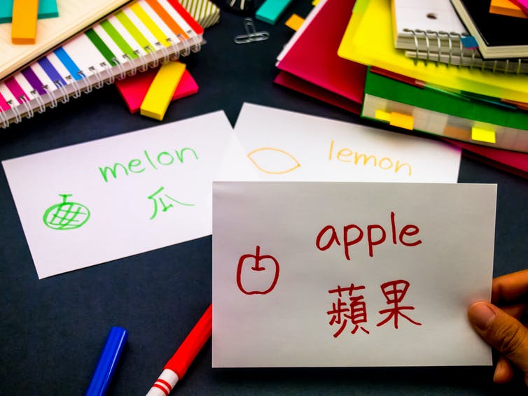 Flashcards with the words for 'apple', 'melon' and 'lemon' in English and Mandarin