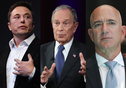 A triptych of Elon Mush, Michael Bloomberg and Jeff Bezos
