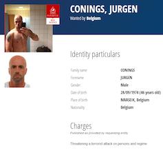'International search warrant depicting suspect Jürgen Conings'
