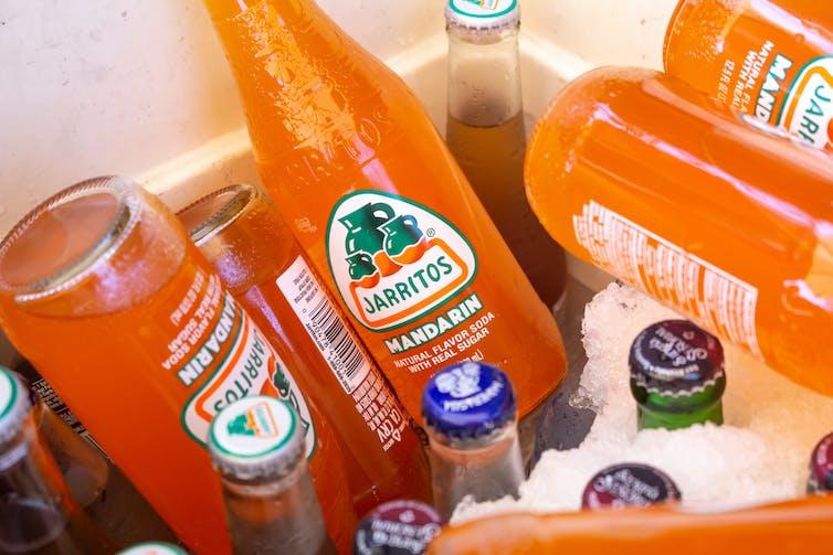 Orange sodas from Mexio in esky.