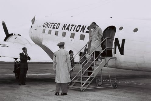 UN secretary-general Dag Hammarskjold landing in what was then Lydda (now Lod)