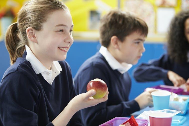 Children at school eating.