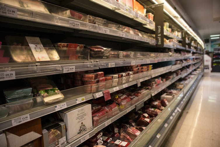 A chilled meat aisle in a UK grocery shop
