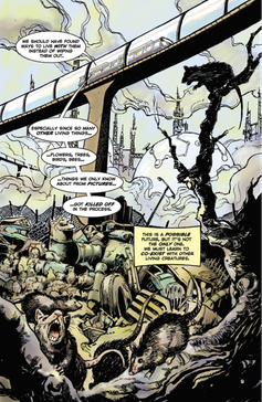 A page from a comic book where rats roam around a wasted world.