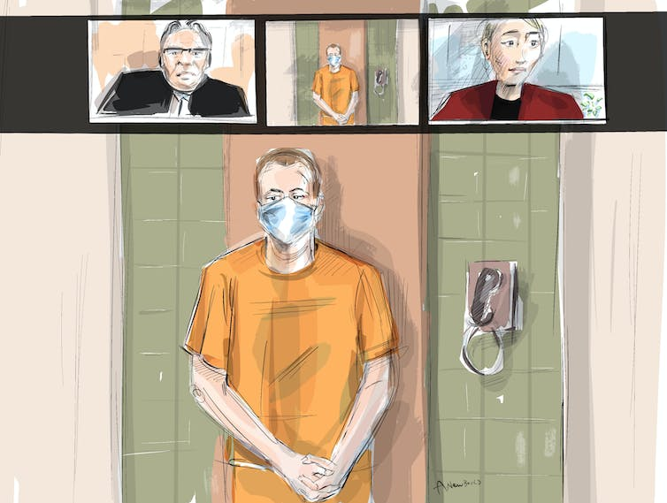 An artist sketch of a video court appearance with the accused, a justice of the peace and lawyer represented