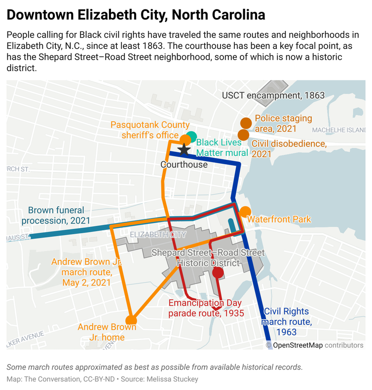 A map of downtown Elizabeth City, North Carolina labelled with the routes that different marches and processions took.
