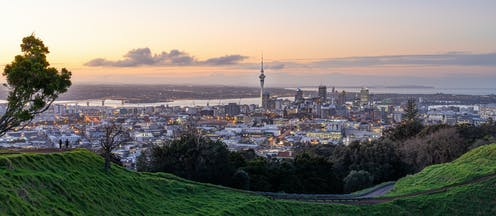 Auckland central city view from top of Mt Eden at sunset