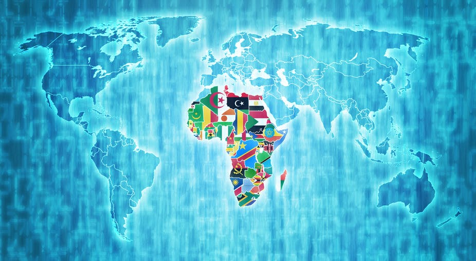 African Union member countries on digital map of world