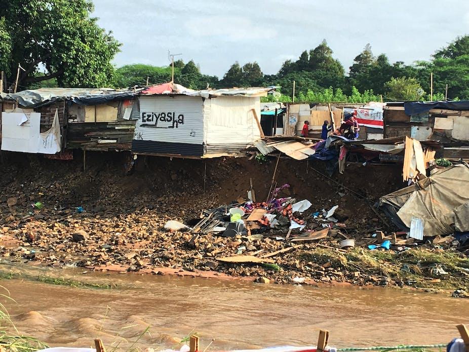 Flooding around informal houses.