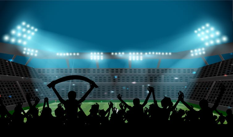 A group of football fans watching a match.