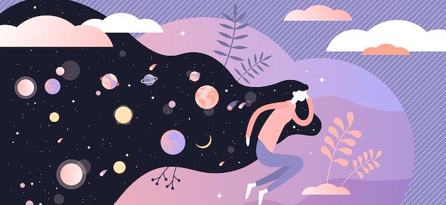 Dessin illustrant une femme en train d'imaginer le cosmos