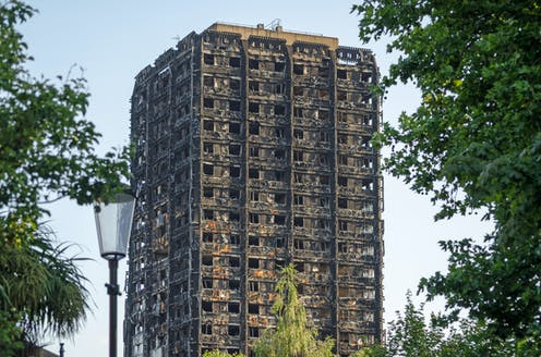Remains of burnt tower block