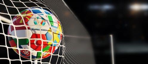 Euro 2020 ball hitting net.