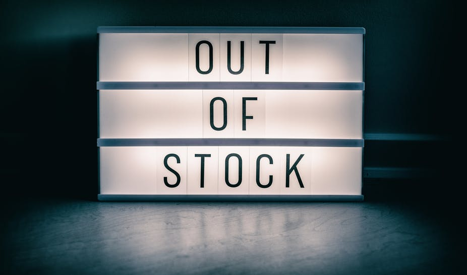Out of Stock lightbox sign