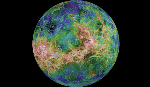 A radar image of Venus showing reds, blues and greens relating to elevation.